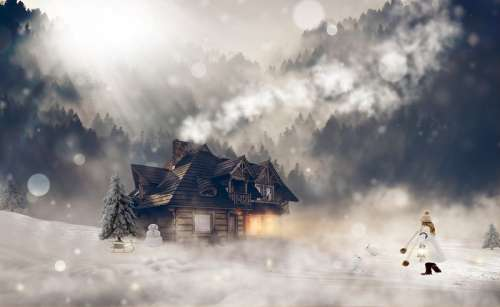 Snowfall scene with cabin in the pine forest free photo