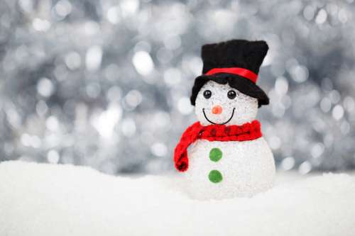 Snowman with scarf and hat free photo
