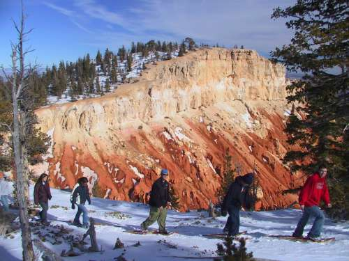 Snowshoe trails in the winter at Bryce Canyon National Park, Utah free photo