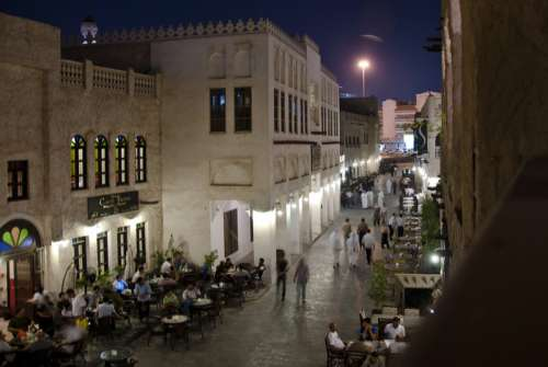 Souq Waqif, Doha, Qatar night Cityscape free photo