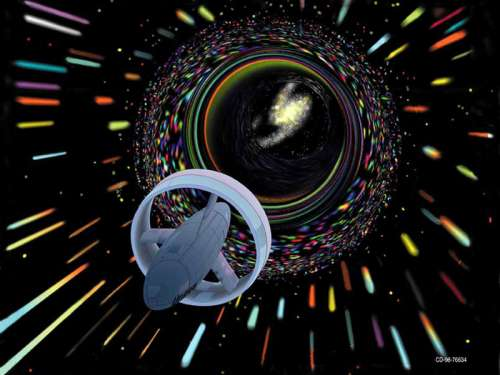 Spaceship traveling through a wormhole free photo