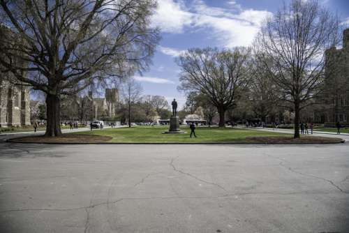 Square with statue at Duke University in Durham, North Carolina free photo