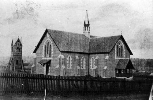 St. James Church of England during construction in 1869 in Toowoomba, Queensland, Australia free photo