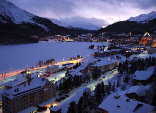 St. Moritz on an evening during the winter in Switzerland free photo
