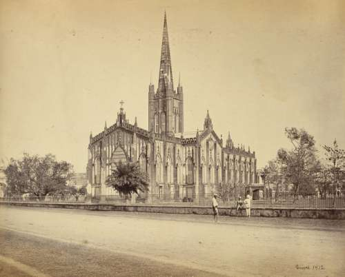St.Paul's Cathedral in 1865 in Calcutta, India free photo