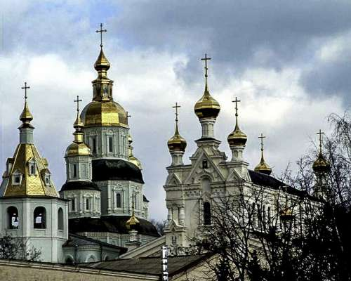 St. Pokrovsky Cathedral with bell tower and Ozeryanskaya church in Kharkiv, Ukraine free photo