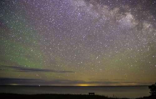 Stars above Lake Michigan free photo