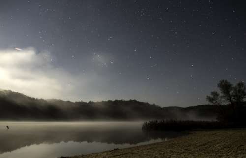 Stars, fog, and Lake at Governor Dodge State Park, Wisconsin free photo
