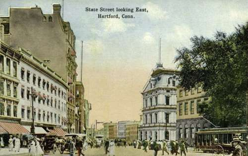 State Street in 1914 in Hartford, Connecticut free photo