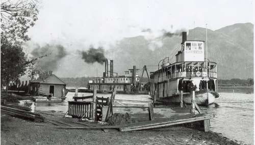 Steamboats on the river near Chiliwack, British Columbia, Canada free photo
