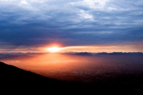 Sunrise over the city of Cape Town, South Africa free photo