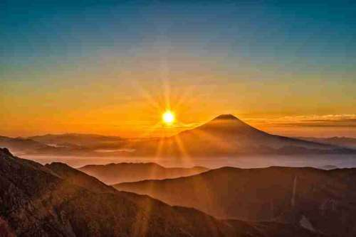 Sunrise over the Mount Fuji in the mountain landscape, Japan free photo
