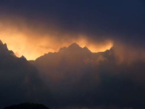 Sunset and Dusk over the Mountains in Machu Picchu, Peru free photo