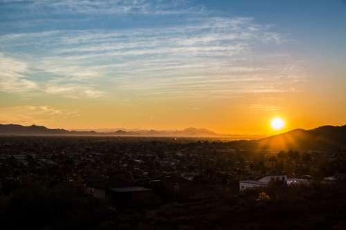Sunset landscape in Phoenix, Arizona free photo