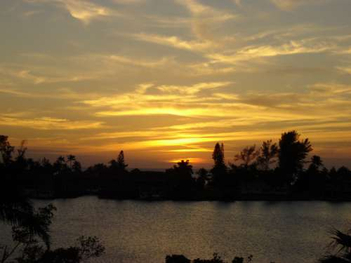 Sunset over the bay in Bonita Beach in Florida free photo