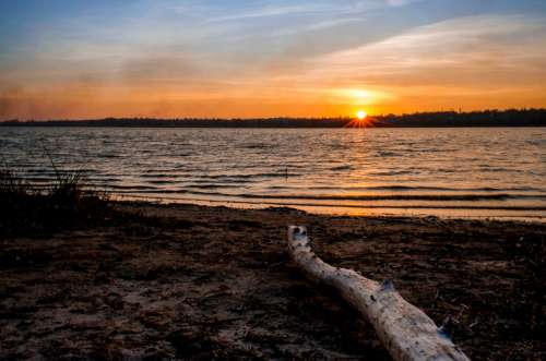 Sunset over the Lake in Ukraine free photo