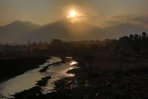 Sunset over the landscape in Kathmandu, Nepal free photo