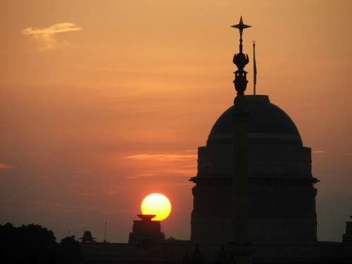 Sunset over the president's house in New Delhi, India free photo