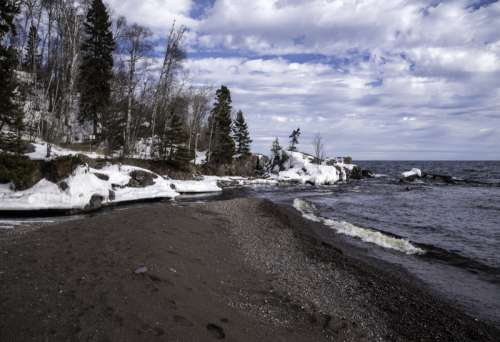 Temperance River Empties into Lake Superior at Temperance River State Park, Minnesota free photo