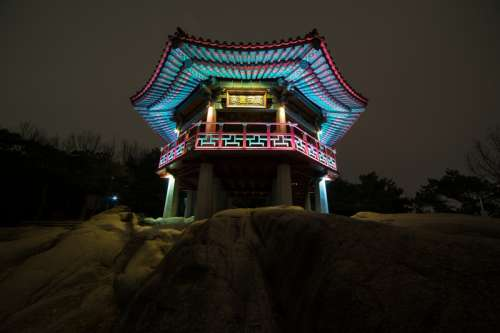 Temple in Seoul, South Korea at night free photo