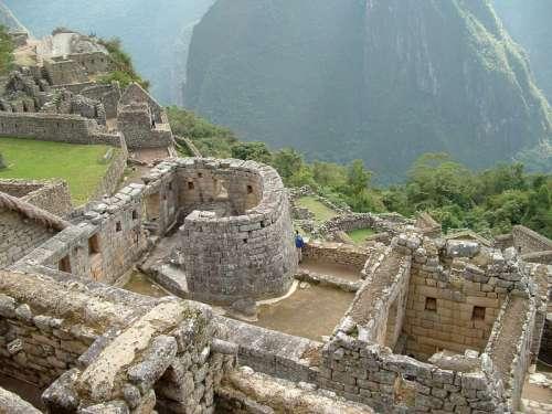 Temple of the Sun or Torreon at Machu Picchu, Peru free photo