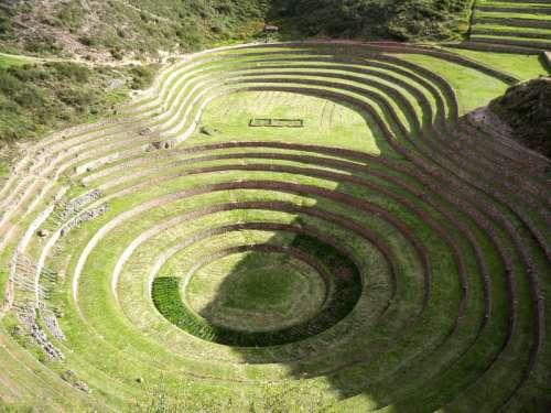 Terrace central place in Machu Picchu, Peru free photo