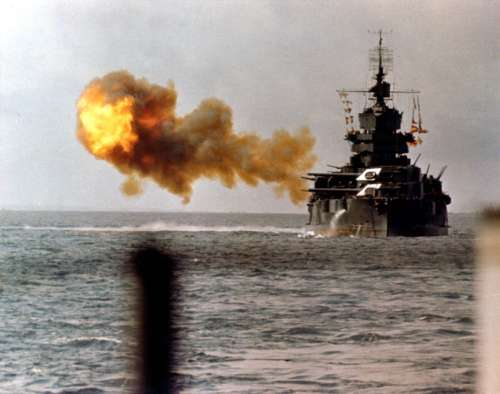 The battleship USS Idaho shells Okinawa in World War II free photo