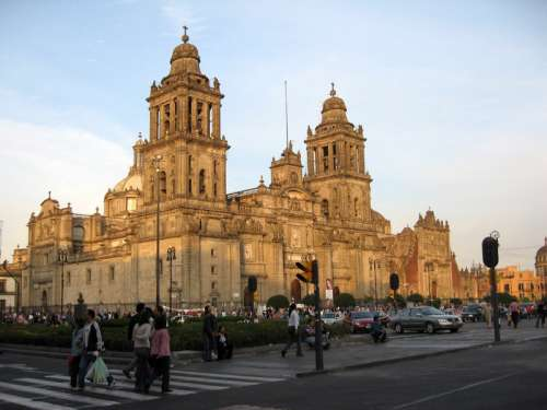 The cathedral as seen from Madero street in Mexico City free photo