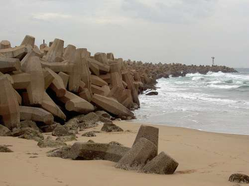 The Dolosse wall in Durban, South Africa free photo