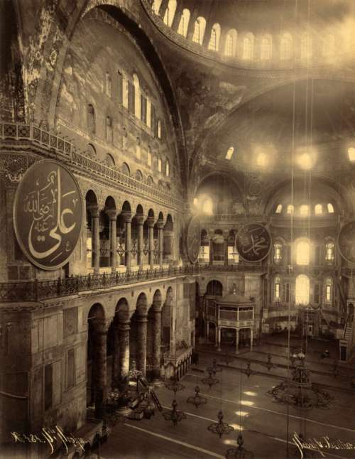 The Hagia Sophia as a Mosque in 1900 in Istanbul, Turkey free photo