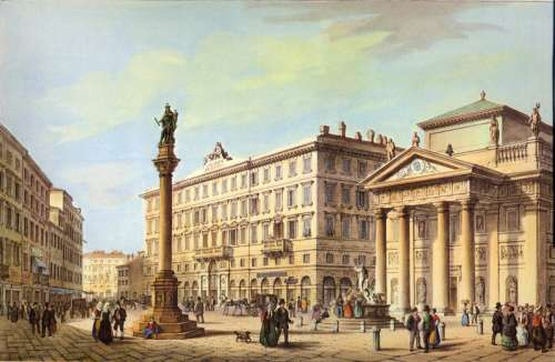 The Stock Exchange Square in 1854 in Trieste, Italy free photo