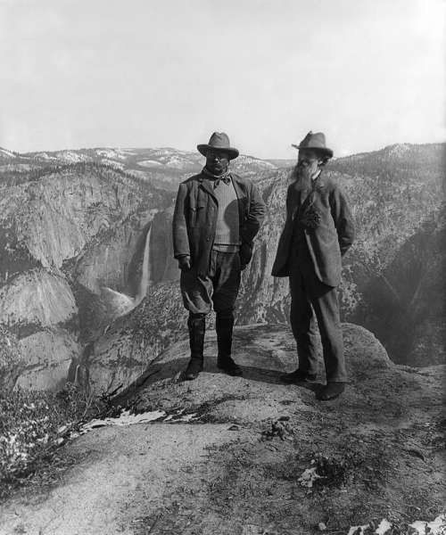 Theodore Roosevelt and John Muir on Glacier Point in Yosemite National Park, California free photo
