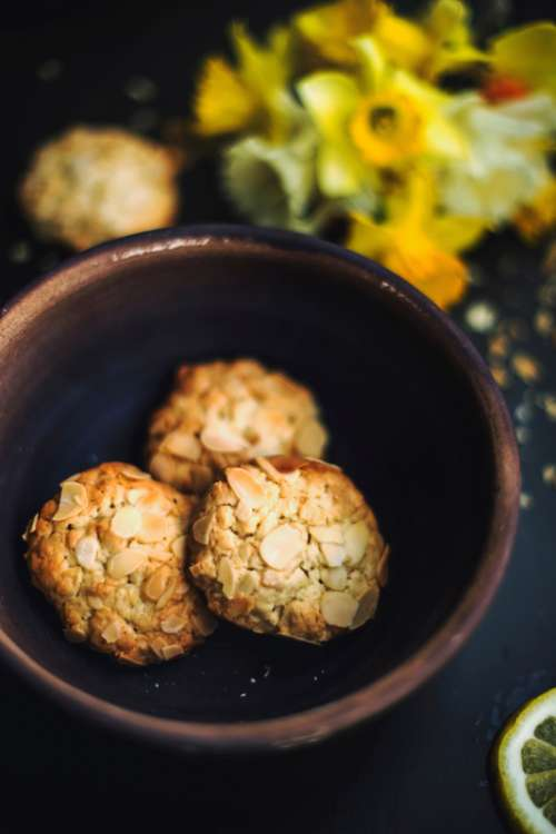 Three Biscuits with nuts in a bowl free photo