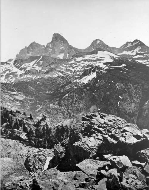 Three Tetons landscape in Grand Teton National Park, Wyoming, 1872 free photo