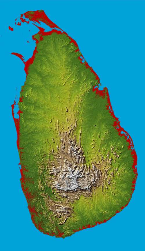 Topographic map of Sri Lanka free photo