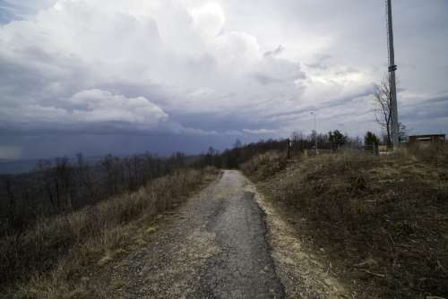Trail landscape at the top under the clouds at Sassafras Mountain, South Carolina free photo