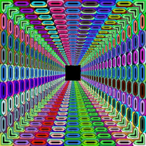 Tunnel with bright colors and patterns vector art free photo