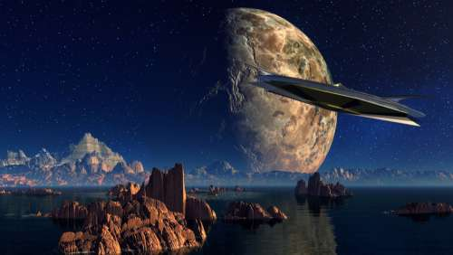 UFO Flying Saucer in an otheworldy landscape free photo
