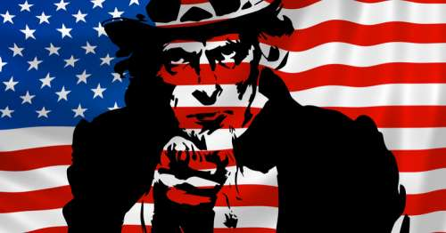 Uncle Sam in front of American Flag free photo