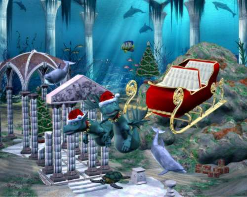 Underwater Sleigh Pulled by Sea Creatures free photo