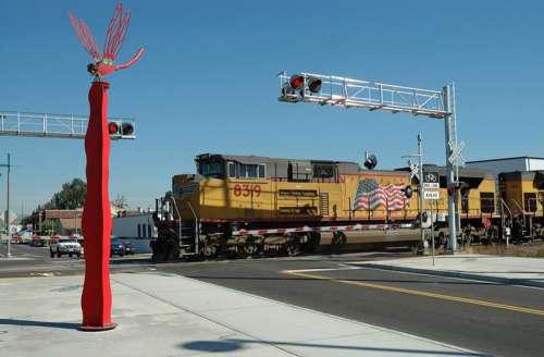 A Union Pacific train passing downtown in Auburn, Washington free photo