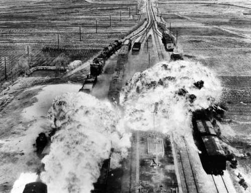 U.S. Air Force attacking railroads south of Wonsan in North Korea free photo