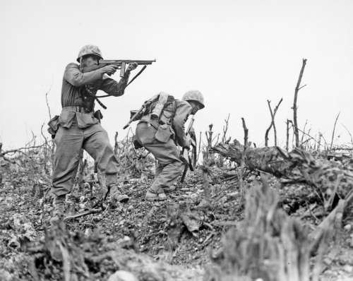 U.S. Marine from the 2nd Battalion,1st Marines on Wana Ridge, Okinawa free photo
