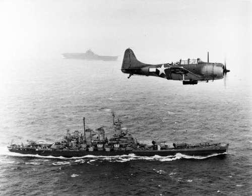 US Navy Douglas SBD Dauntless flying patrol in World War II free photo