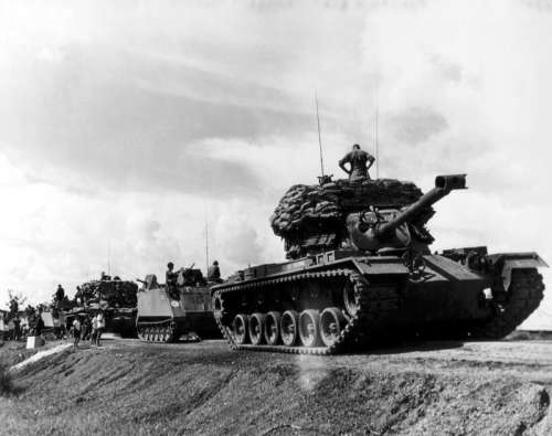 US tank convoy during the Vietnam War free photo