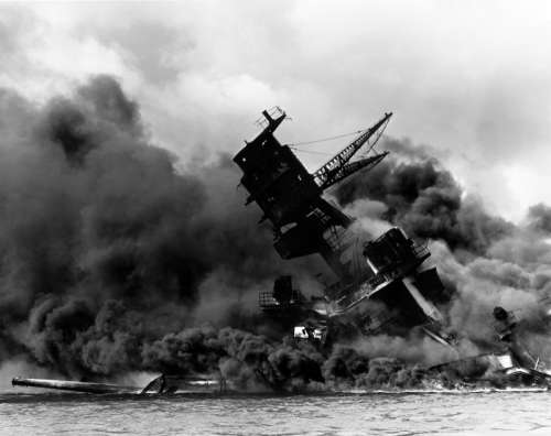 USS Arizona Sunk during the attack on Pearl Harbor, World War II free photo