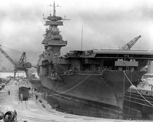 USS Yorktown at Pearl Harbor days before the battle during World War II free photo