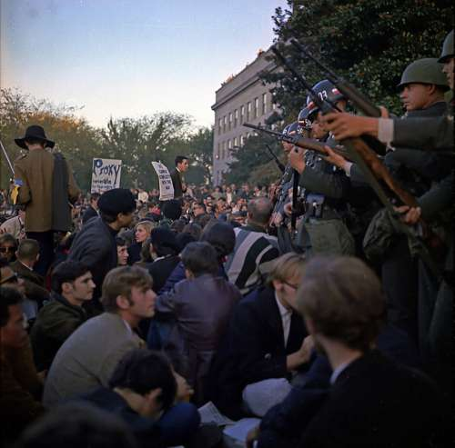 Vietnam War protests at the Pentagon, October 1967 free photo