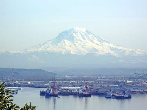 View from Brown's Point of Mt. Rainier and the Port of Tacoma, Washington free photo