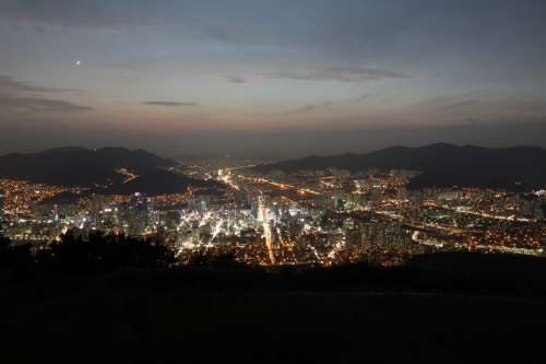 View from high ground of the City Metropolis of Busan, South Korea free photo